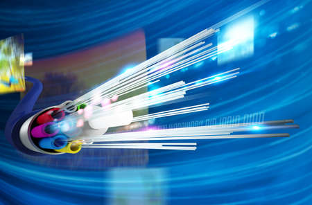 Foto de Image of optical fiber with multimedia background - Imagen libre de derechos