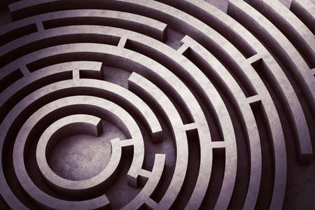 Foto de Image from above of a circular maze - Imagen libre de derechos