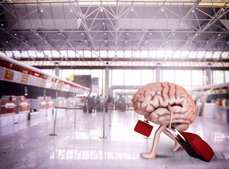 Foto de Brain escape with luggage at the airport - Imagen libre de derechos