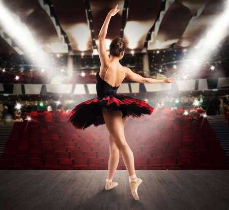 Foto de Classical dancer on the stage of a theater - Imagen libre de derechos
