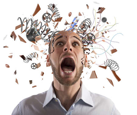Photo pour Stressed businessman with broken mechanism head screams - image libre de droit