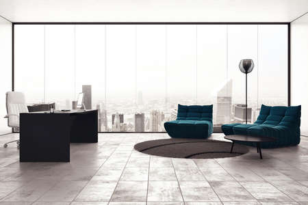 Photo for Luxury executive office with city view window - Royalty Free Image