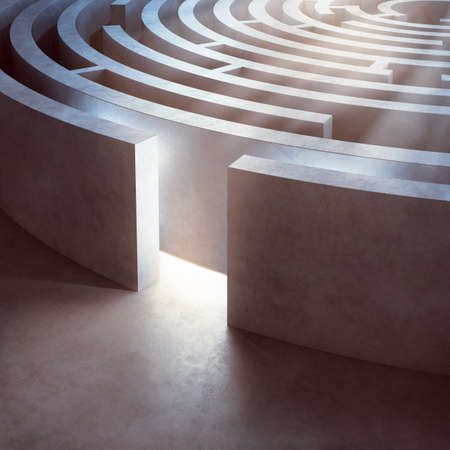 Photo for Image of a complicated circular maze lit - Royalty Free Image