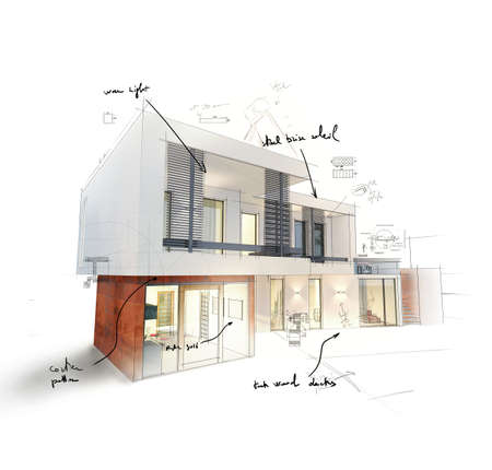 Photo pour Project of a house in 3d sketch - image libre de droit