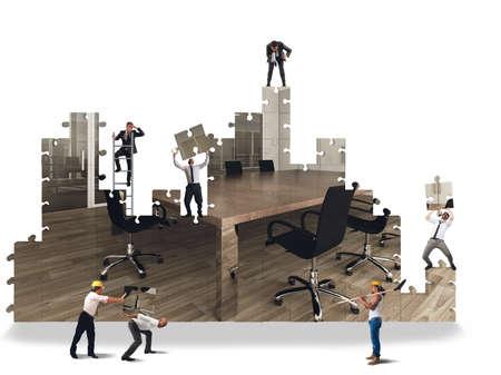 Photo pour Business team working to build the office - image libre de droit