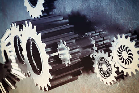 Photo for System of a mechanism gear stuck together - Royalty Free Image