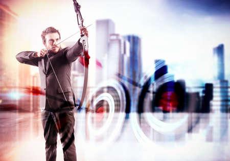 Photo pour Businessman with bow and city view background - image libre de droit