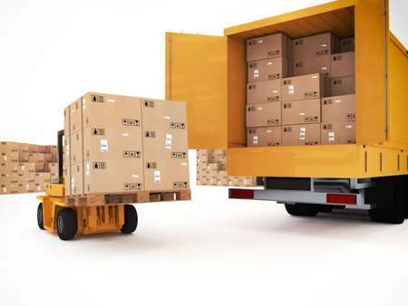 Photo for Loading stack of packed boxes on truck - Royalty Free Image