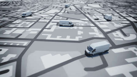 Photo for Image of map of streets with trucks - Royalty Free Image