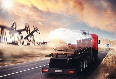 Photo pour Truck with oil tank driving on asphalt - image libre de droit