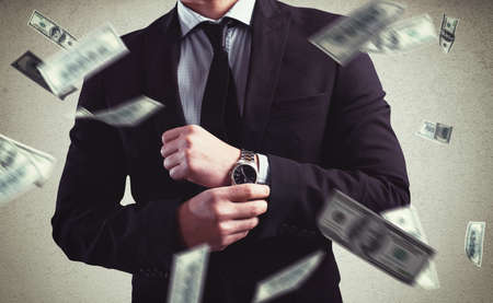 Photo for Rich Man with Clock and money background - Royalty Free Image