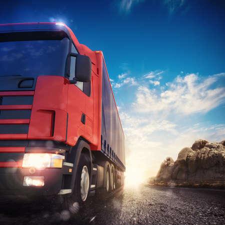 Foto de 3D rendering transporter truck on a highway - Imagen libre de derechos