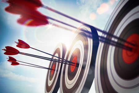 Photo pour Targets hits in the center by arrows. 3D Rendering - image libre de droit