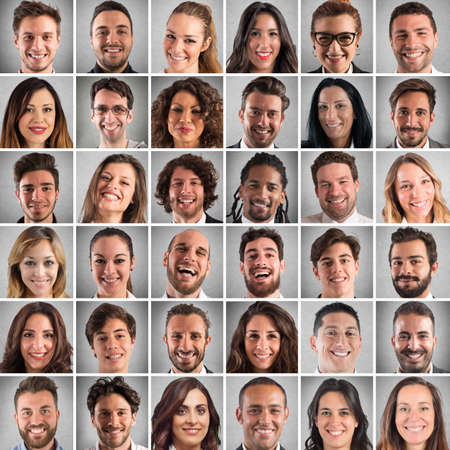 Photo pour Collage of smiling faces of men and women - image libre de droit