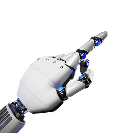 Photo pour 3D Rendering of futuristic robot hand indicating - image libre de droit
