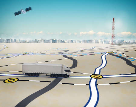 Foto de 3D Rendering trucks on the road with path traced by satellite - Imagen libre de derechos