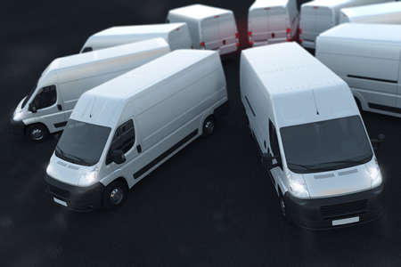 Photo pour 3D Rendering white trucks parked next to each other - image libre de droit