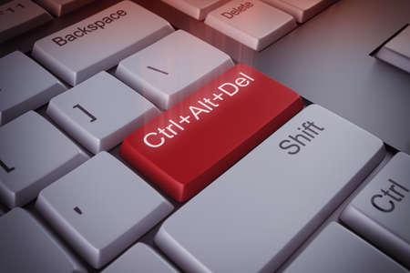 Foto de Computer keyboard with a restart red key 3D rendering - Imagen libre de derechos