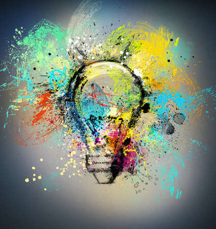 Foto de Concept of a new creative idea with drawn and colored bulb with bright colors - Imagen libre de derechos
