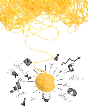 Foto de Concept of idea and innovation with tangle of wool yarn - Imagen libre de derechos