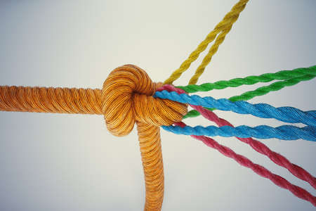 Foto de 3D Rendering different colored ropes tied together with a knot - Imagen libre de derechos