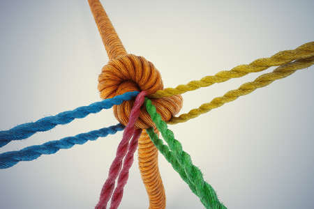 Photo pour 3D Rendering different colored ropes tied together with a knot - image libre de droit