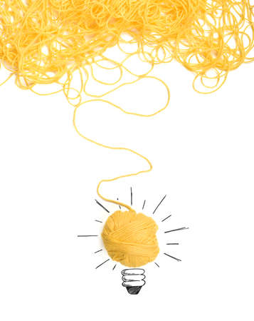 Photo pour Concept of idea and innovation with tangle of wool yarn - image libre de droit