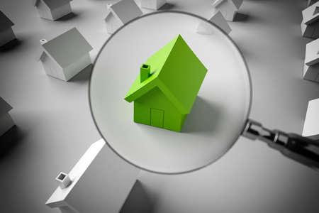Foto de 3D Rendering magnifying glass to zoom in on a model of a house - Imagen libre de derechos