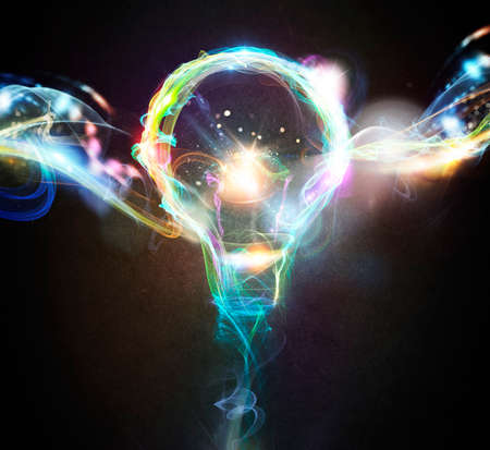 Photo for Light bulb drawn with colourful lighting effects - Royalty Free Image