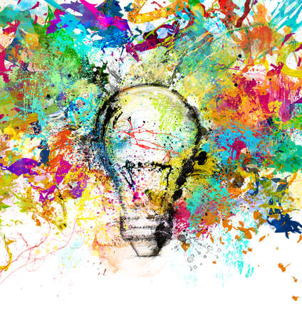Photo pour Concept of a new creative idea with drawn and colored bulb with bright colors - image libre de droit