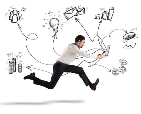 Photo for Fast business concept with businessman running with a laptop - Royalty Free Image