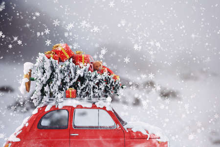 Photo for 3D Rendering car with Christmas tree and gifts on the roof - Royalty Free Image