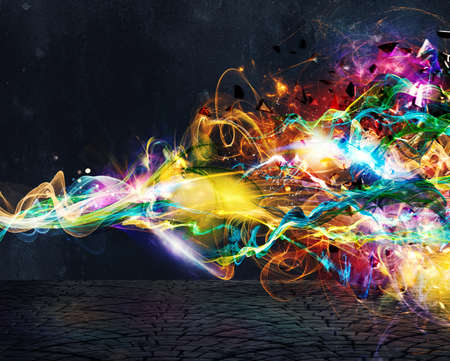 Photo pour Modern abstract colourful light motion banner on dark background - image libre de droit