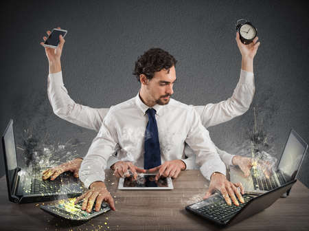 Photo for Businessman stressed out from too much work - Royalty Free Image