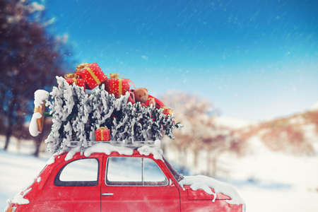 Photo pour 3D Rendering car with Christmas tree and gifts on the roof - image libre de droit