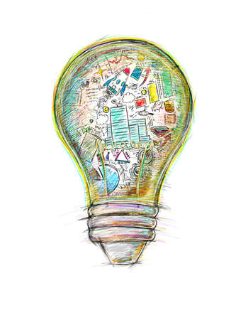 Photo pour Lightbulb drawn and colored with business sketches - image libre de droit