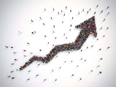 Foto de 3D rendering of people forms an arrow - Imagen libre de derechos
