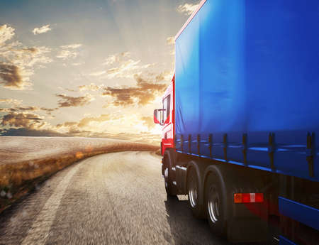Photo for Blue truck on the road with the landscape at sunset . 3D Rendering - Royalty Free Image