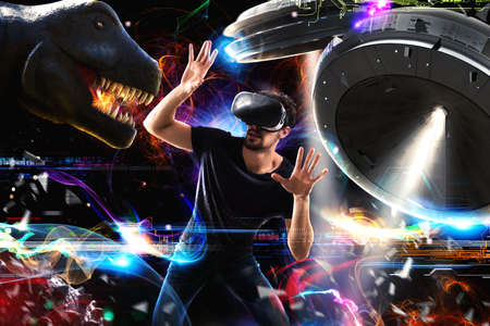 Photo pour Man with 3D glasses plays with video games - image libre de droit