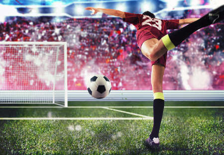 Photo pour Soccer player towards the goal with the ball - image libre de droit