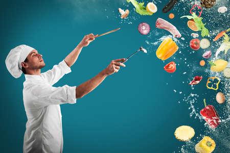 Foto de Chef creates a musical harmony with food - Imagen libre de derechos