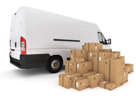 Photo for Loading stack of packed boxes on van . 3D Rendering - Royalty Free Image