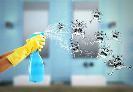 Photo pour Housewife cleans determined with much cleaner spray to defeat the germs. 3D Rendering - image libre de droit