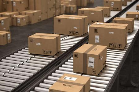 Foto de Boxes on conveyor roller. 3D Rendering - Imagen libre de derechos
