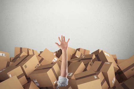 Foto de Man buried by a stack  of cardboard boxes. 3D Rendering - Imagen libre de derechos