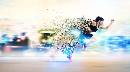 Photo for Athletic woman fast runner - Royalty Free Image