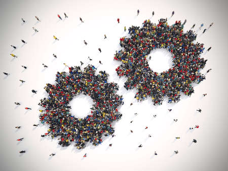 Photo pour 3D Rendering of people united form two gears. Teamwork system concept - image libre de droit