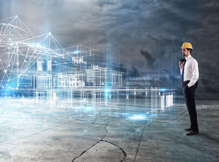 Photo for Businessman Architect analyzes a project of a building - Royalty Free Image