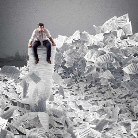 Photo pour Businessman with paper sheet anywhere. Buried by bureaucracy concept. - image libre de droit