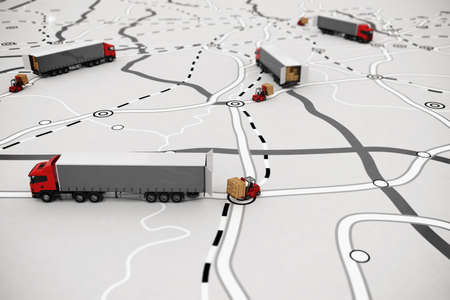 Photo pour Loading and unloading goods on a map. 3D Rendering - image libre de droit